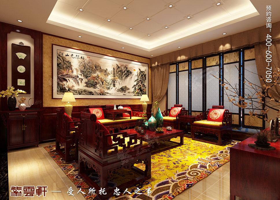 山东威海别墅现代中式装修效果图,客厅中式装修设计