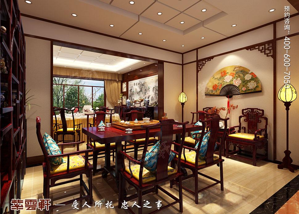 山东威海别墅现代中式装修效果图,餐厅中式设计