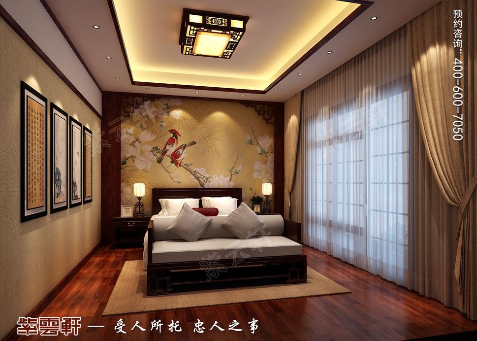 山东威海别墅现代中式装修效果图,老人房中式设计装修
