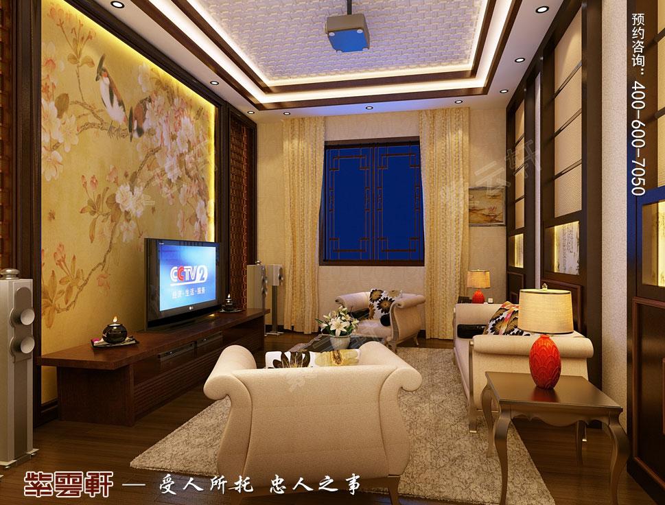 山东威海别墅现代中式装修效果图,起居室中式设计