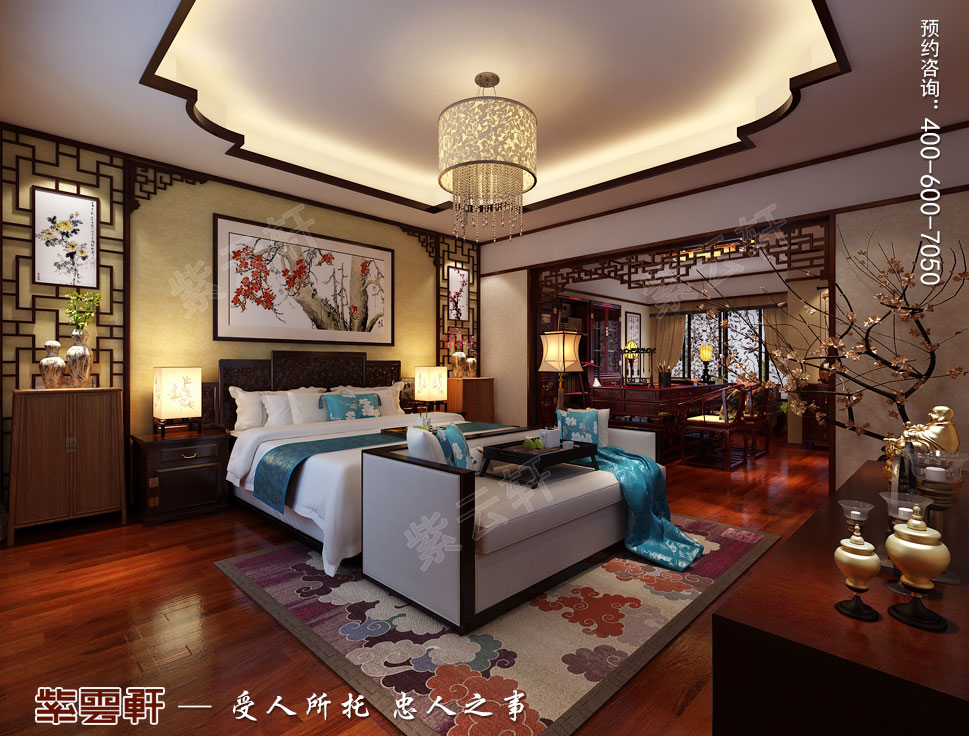 山东威海别墅现代中式装修效果图,主卧中式装修图