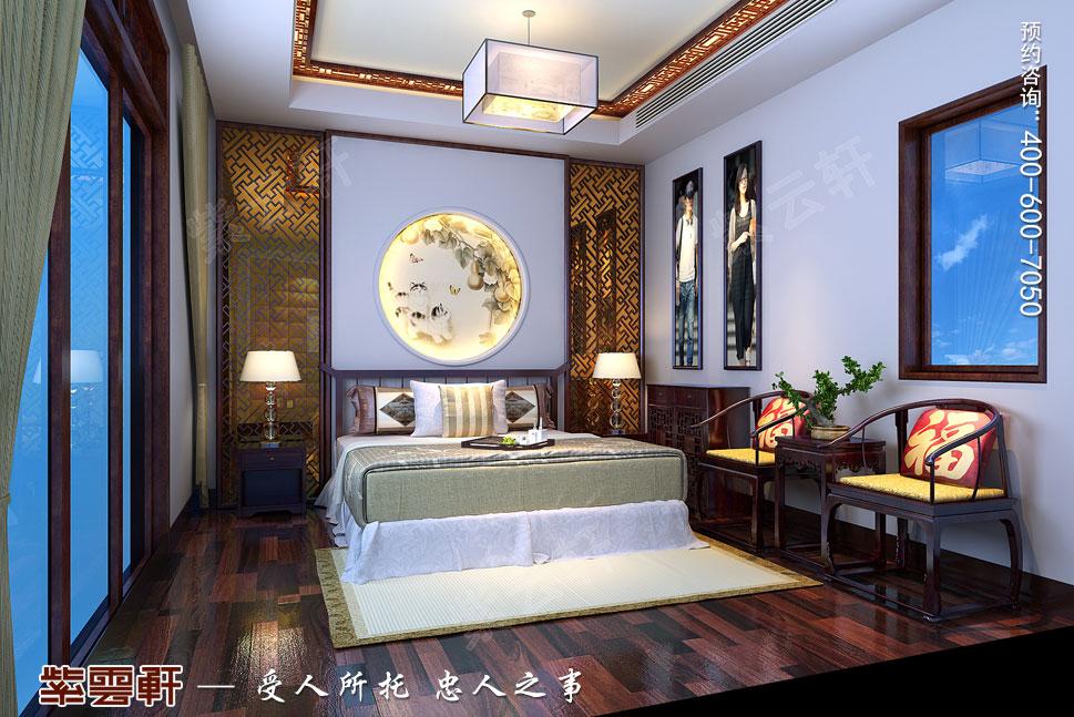 山东威海别墅现代中式装修效果图,中式客卧装修