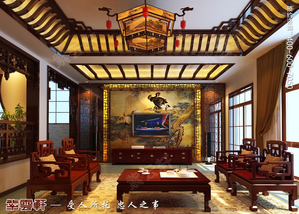 联排别墅简约古典中式风格装修效果图,客厅中式装修效果图