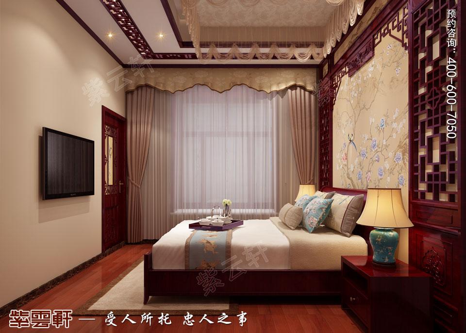 联排别墅简约古典中式风格装修效果图,老人房中式装修
