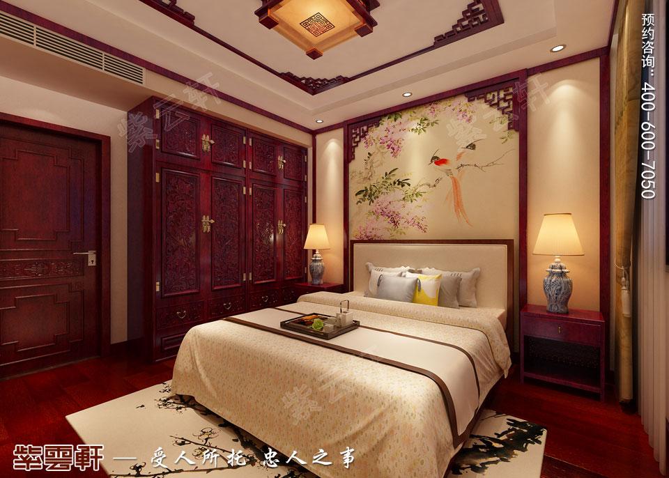 联排别墅简约古典中式风格装修效果图,次卧中式设计