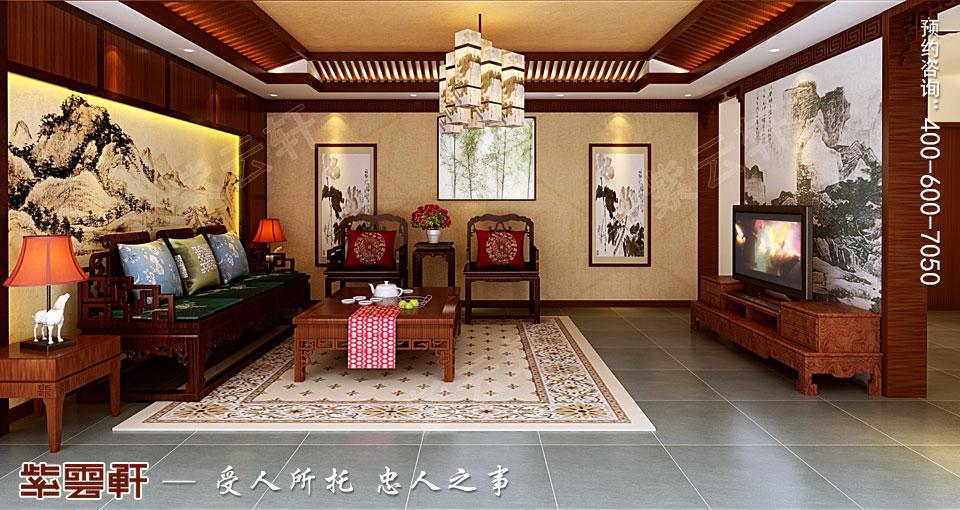 联排别墅简约古典中式风格装修效果图,起居室中式装修
