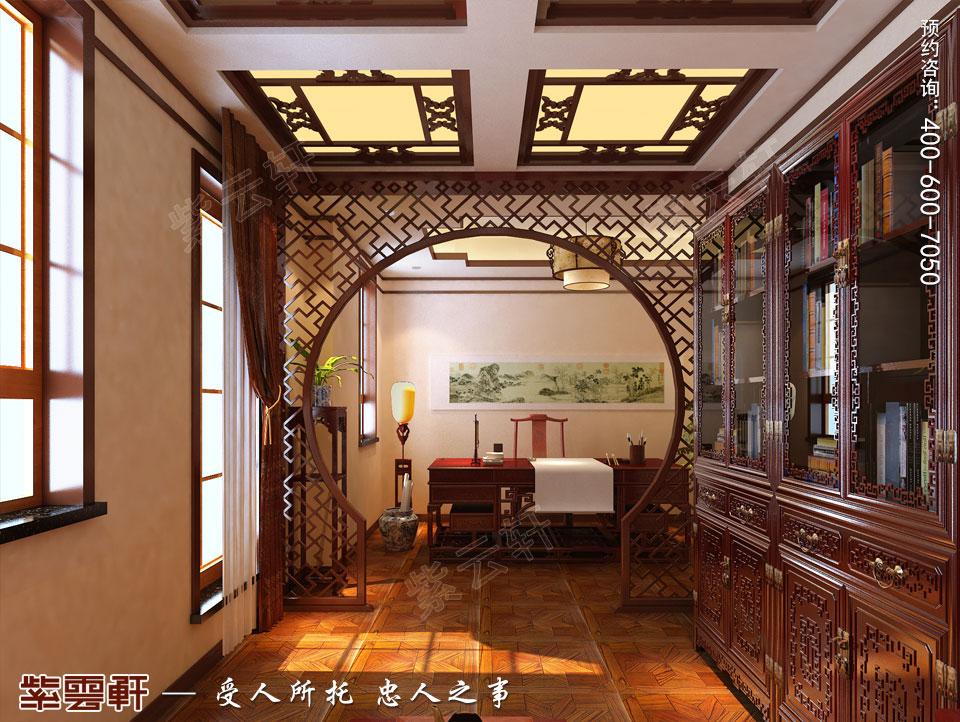 联排别墅简约古典中式风格装修效果图,中式风格书房设计