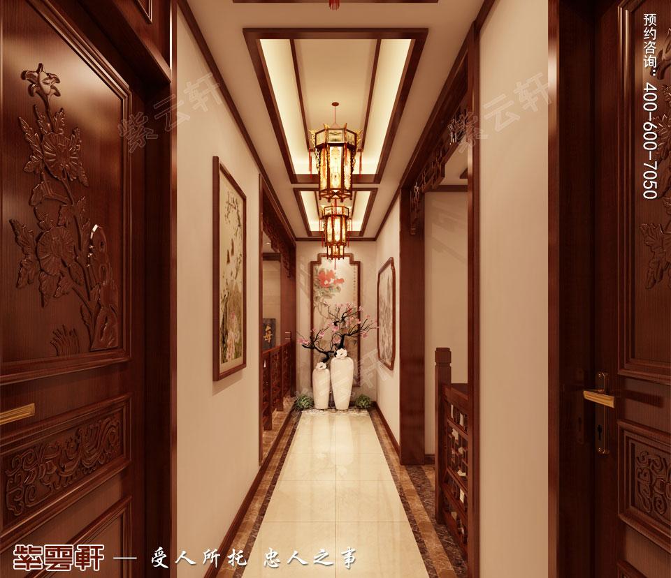 联排别墅简约古典中式风格装修效果图,过道中式设计
