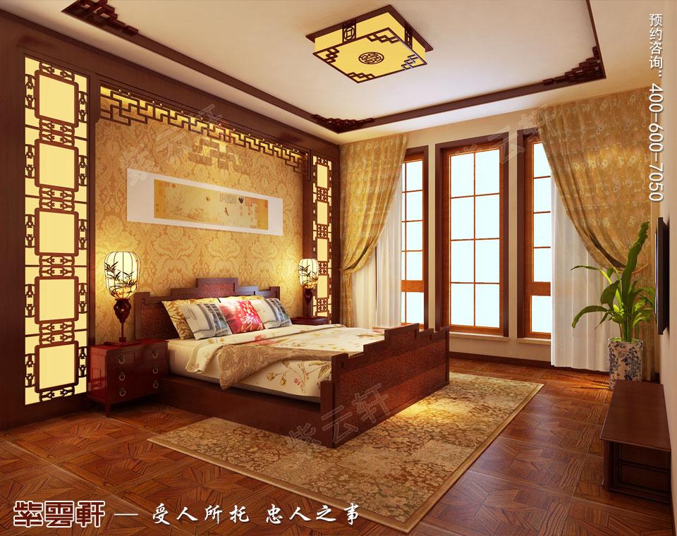 联排别墅简约古典中式风格装修效果图,主卧中式装修设计