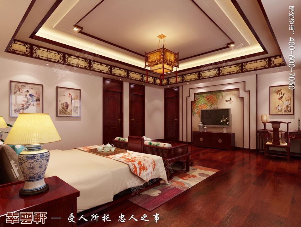 联排别墅简约古典中式风格装修效果图,主卧中式装修