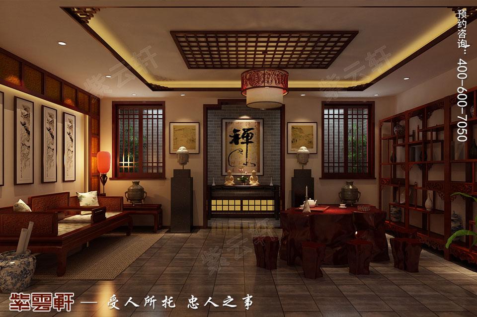 联排别墅简约古典中式风格装修效果图,地下休闲室设计