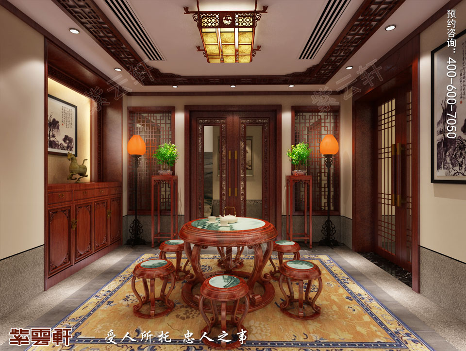 联排别墅简约古典中式风格装修效果图,地下茶室设计图