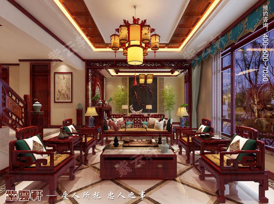 北京别墅现代中式装修效果图,中式客厅设计图