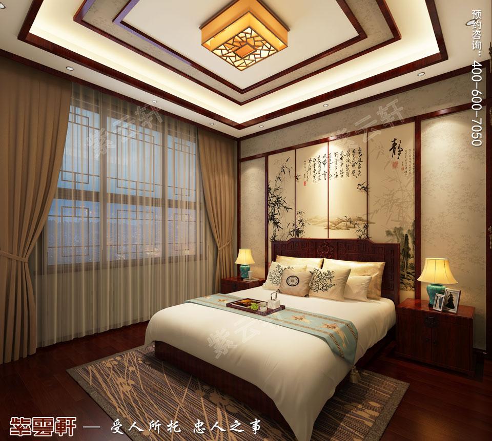 北京别墅现代中式装修效果图,一层老人房设计