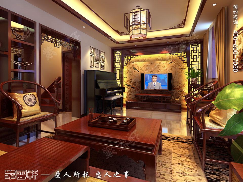 北京别墅现代中式装修效果图,二层起居室装修