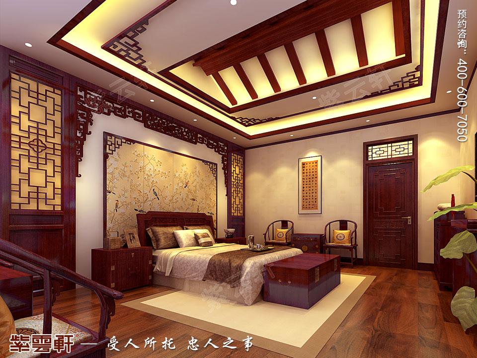 北京别墅现代中式装修效果图,主卧中式装修设计