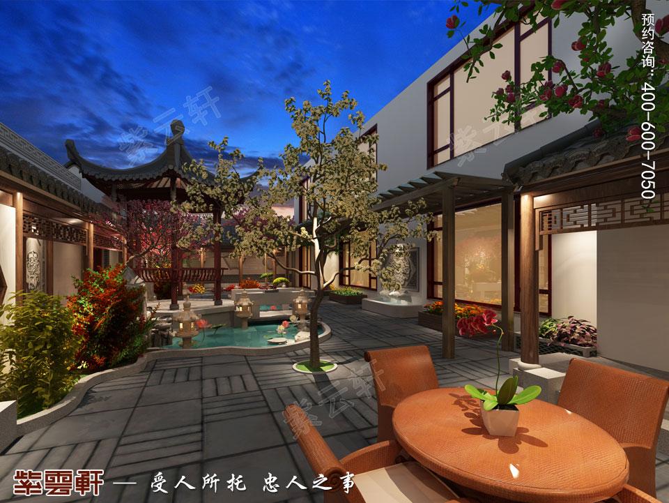 北京别墅现代中式装修效果图,庭院中式设计
