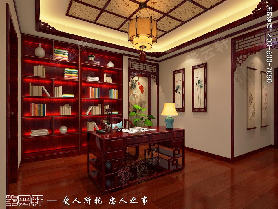 北京别墅现代中式装修效果图,中式书房设计