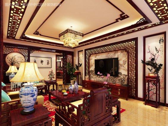 中式装修效果图电视墙