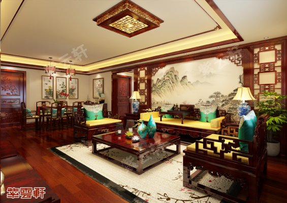 山东济南中式客厅装修图