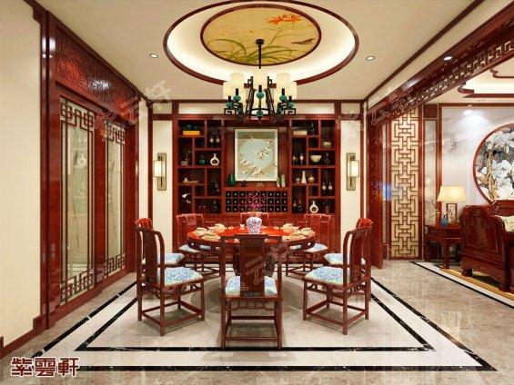山西运城别墅中式装修餐厅效果图
