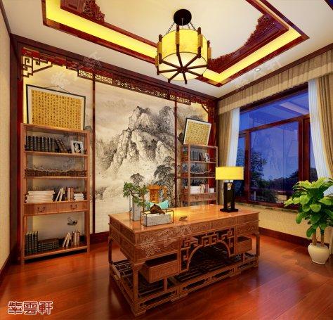 中式书房设计图,中式书房效果图