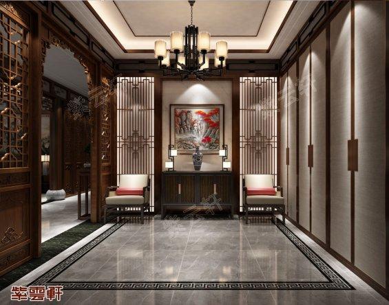 中式设计,玄关中式装修效果图